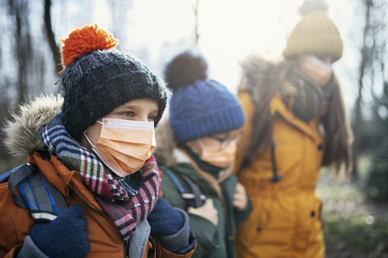 Kids Wearing Mask to Combat Cornavirus